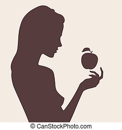 Female silhouette and apple - Vector beautiful female...