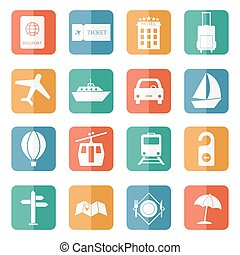 Travel and tourism icons - flat vector