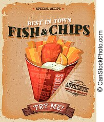 Grunge And Vintage Fish And Chips Poster - Illustration of a...