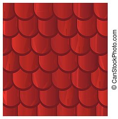 Vector texture illustration of Seamless red clay roof tiles,...