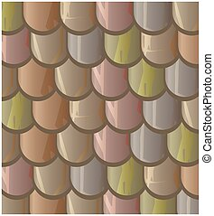 Vector texture illustration of Seamless clay roof tiles,...