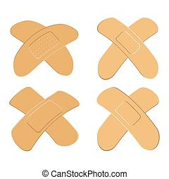 Set of Adhesive, flexible, fabric plaster . Medical bandage in different shape - curved cross. Vector illustration isolated on white background.