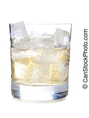 Ice in whiskey - Glass cup of whiskey on white background
