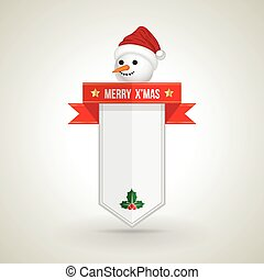 Snow man Xmas banner for Christmas Greeting Card. Merry...