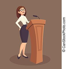 Speaker Woman Illustration - Speaker woman with stand and...