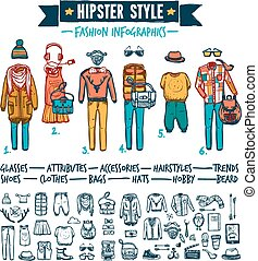 Hipster fashion clothing infographic doodle banner - Hipster...