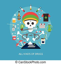All Kinds Of Drugs Concept - All kinds of drugs concept with...