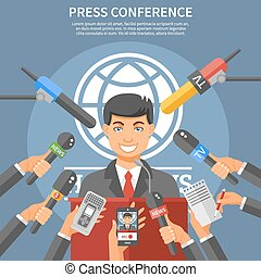 Press Conference Concept - Press conference concept with...