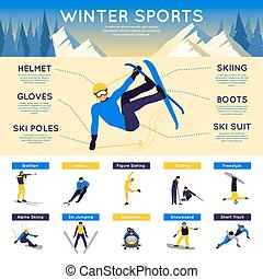 Winter Sports Infographics - Winter sports infographics set...