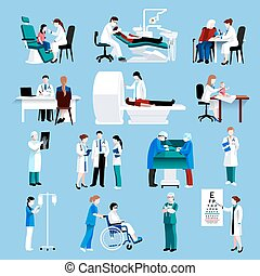 Medical care people fllat icons set - Medical doctor and...