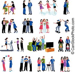 Friends buddies activities flat icons set - Colleagues...