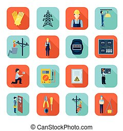 Electricity man professional flat icons collection -...