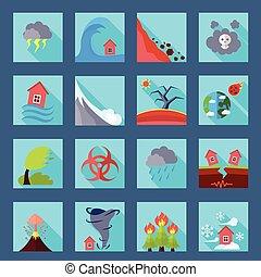 Natural disaster flat icons set - Natural disasters...