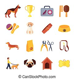 Pets dog flat icons set - Dogs breeds flat icons collection...