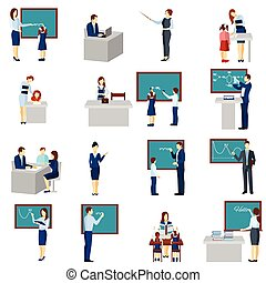 Teacher And Pupils Flat Icons  Set