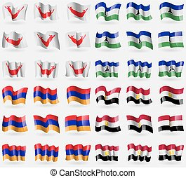 Easter Rapa Nui, Lesothe, Armenia, Egypt. Set of 36 flags of...