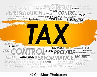 TAX word cloud, business concept