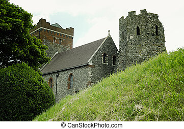 Medieval Dover Castle on the hill above Dover, United...