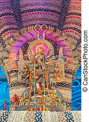 Clay idol of Durga - Closuup of a beautiful Durga idol at...