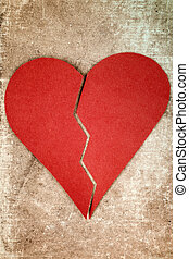 Close up of paper broken heart