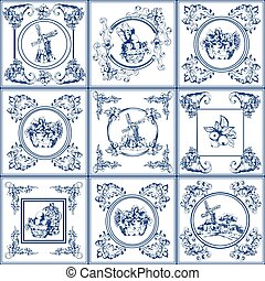 Famous delft blue tiles icons collection - Delft blue...