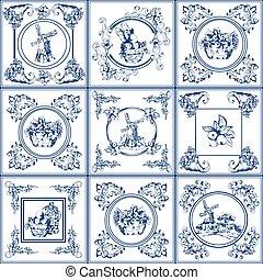 Famous delft blue tiles icons collection - Delft blue...