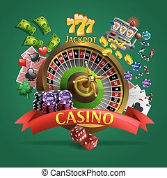 Casino Poster On Green Background - Casino poster with...