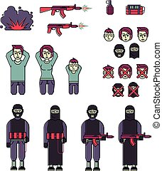 Icon set of men, women terrorist and victim vector - Icon...