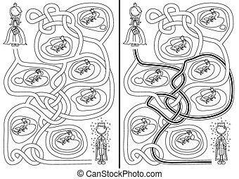 The frog prince maze for kids with a solution in black and...