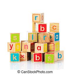 玩具, 木制, 字母表, 塊, 立方, 信件