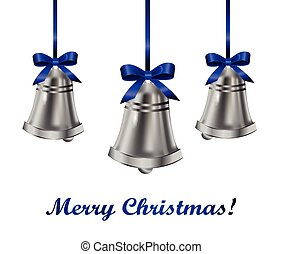 Silver bells withblue bow - Silver bells with blue bow on a...