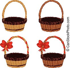 Set of Baskets - Set of different empty baskets on white...