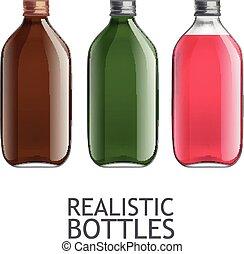 Template of glass bottles - Set of transparent bottles....