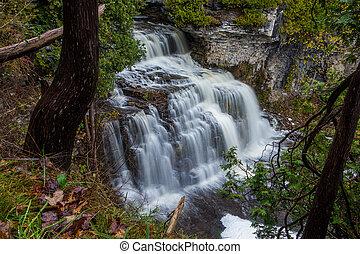 Jones Falls in Owen Sound, Ontario during the fall.