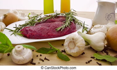 Fresh meat with vegetables - red meat with fresh vegetables