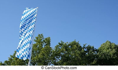 Bavarian Flag slowmotion - Bavarian flag moving in slow...