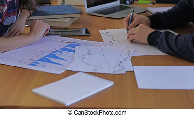 Hand with graphics securities analysts and finance...