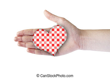 Heart with red patern in hand - Heart shape in hand Heart...