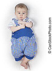 Baby boy in a blue suit - Four months old baby in a blue...