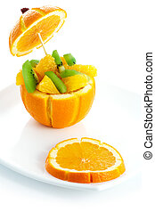 fruit salad and slice of orange