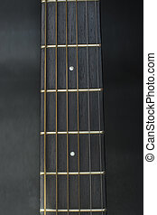 Headstock,fretbord,frets of guitar acoustic