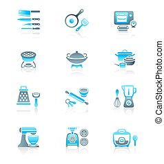 Cooking utensil icons - Modern professional utensils for...