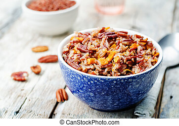 Pumpkin Pecan Orange white and red rice. toning. selective...