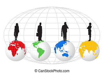 Businessmen and World Globes - Silhouettes standing on World...