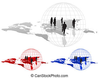 Businessmen and World Map - Silhouettes on World Map