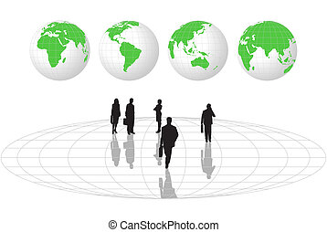 Businessmen and World Globes - Abstract background with...