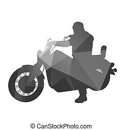 Chopper. Motorcycle driver. Abstract vector silhouette