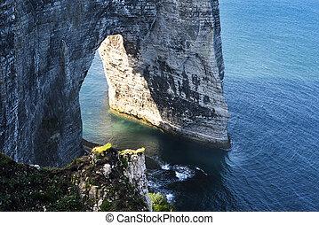 Etretat cliff France - Falaise d'Amont cliff at Etretat,...