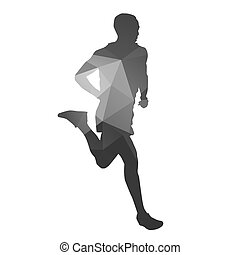 Runner. Abstract geometrical running man silhouette