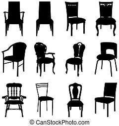 chairs set - Collection of different chairs silhouettes...
